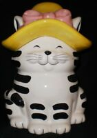 Certified International Corp Black& White Cat Cookie Jar Hat with Pink Bow