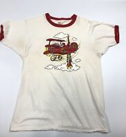 2b4016b52 Vintage 1975 Red Baron Ringer T-shirt Peanuts Authentic 70's Snoopy
