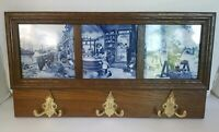 Delft 3 Tile Wall Hanging Coat Hook Rack Ter Steege Holland Hand Decorated