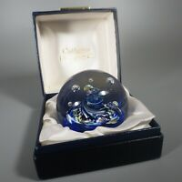 Caithness Blue Myriad Paperweight - 1970s Scotland Art Glass
