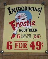 Large Frostie Root Beer 1939 Poster Sign Introducing Frostie Root Beer 39 Cents!