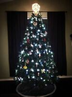 6Ft Pre-Lit Artificial Christmas Tree Hinged with Cool White Fairy String Lights
