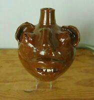 M L Owens Indigenous Southern Folk Art Pottery Face Jug Seagrove NC Signed