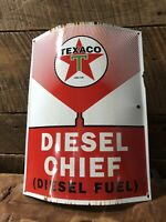 Texaco Fire Chief Porcelain Sign Curved Antique Gas Pump Standard Oil Can