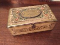"""Vintage Artstyle Metal Hinged Candy Box Tin """"With Love to Mother"""" great details"""