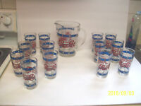 pepsi tiffany style clear glass pitcher & 13 glasses
