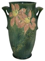Roseville Pottery Clematis Green Ceramic Vase 112-12