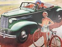 Vintage Oldsmobile Convertible Coupe 1930's Color Print Ad Classy Summer Beach
