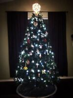 7Ft Pre-Lit Artificial Christmas Tree Hinged w/ Cool White Fairy String Light US