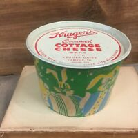 Rare Easter Krogers Advertising Cottage Cheese Container With Tin Lid Pristine