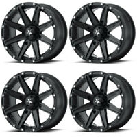 4 ATV/UTV Wheels Set 12in MSA M33 Clutch Matte Black 4/110 10mm IRS