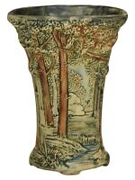 Weller Pottery Forest Footed Ceramic Pillow Vase