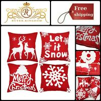 Christmas Pillows Square Covers Embroidery Festive Solid Red Throw Pillow Cases
