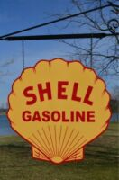 OLD STYLE SHELL MOTOR OIL GAS STATION STEEL DICUT 2 SIDED SWINGER SIGN USA MADE