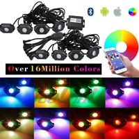 RGB LED Rock Light Wireless Bluetooth Music Offroad Truck ATV Multi-color 8-Pods
