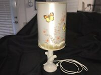 Van Briggle Pottery White Matte Lamp With Original Butterfly Lampshade