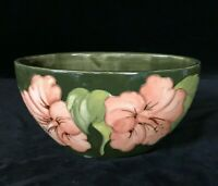 MOORCROFT OVAL HIBISCUS FLOWERS BOWL, Olive Green & Pink, Signed, 20th Century