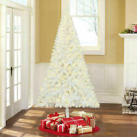 NEW! 6.5 foot Pre-Lit White Artificial Christmas Tree Madison Pine Clear Lights