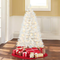 NEW! Pre Lit Artificial Christmas Tree 4-foot Indiana Spruce Clear lights White