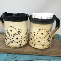 Treadway Clay Hand Thrown Pottery Coffee Mug Cup ~Set of 2~ Ivory Gray 16oz.