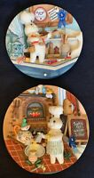Lot Of 2 Danbury Mint 2001 Pillsbury Doughboy 3D Hanging Plates Barbecups Pie