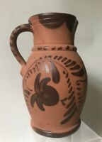 Rare Antique TANWARE DECORATED POTTERY PITCHER, NEW GENEVA, PA, c. 1880s - Mint