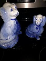 Staffordshire Style Spaniels in Flow BLue