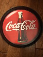 1994 Coca Cola With Bottle Button Sign Round Tray
