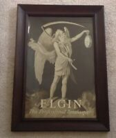 Antique Vintage ELGIN Framed Cardboard Advertising Sign c1900 Father Time Watch