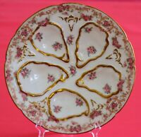 RARE & BEAUTIFUL Haviland Limoges Oyster PLATE PINK ROSES GOLD-Excellent