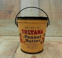 Antique SULTANA Peanut Butter Tin With Lid GREAT ATLANTIC & PACIFIC TEA CO N.Y.
