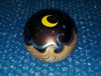 Signed 1976 Lundberg Studios Glass Paperweight Moon and Stars Numbered 387