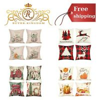 Christmas Decorations Pillow Covers Cotton Linen And Soft Burlap 18 x 18 Inch