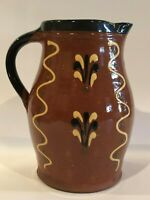 J & D HUNTLEY WISCONSIN POTTERY - HANDCRAFTED REDWARE ARTISAN FOLK ART PITCHER