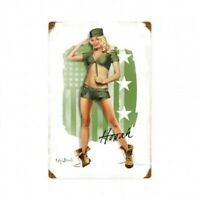 Army Pin Up Girl Metal Sign by Ralph Burch