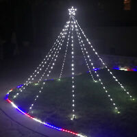 Christmas Cone Tree Lights with Star String Fairy Water Flow Curtain LED Lig