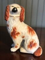 """Antique Staffordshire Ware Rusty Red King Charles Spaniel Pair Dog 6"""" Single"""