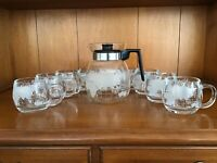"Vintage  Nestle Nescafe ""Around The World"" Carafe And 8 Coffee Mugs"