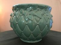 large vintage McCoy flower pot turquoise green quilt pattern rare
