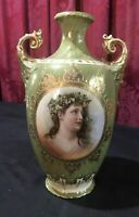 ANTIQUE VICTORIAN GERMAN PORCELAIN & GILT DECORATED PORTRAIT 10