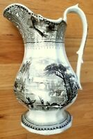 Staffordshire Transferware Large Brown Pitcher 1865 - Saxon