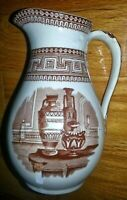 Staffordshire Brown Transferware Pitcher - Etruscan Vases 1873