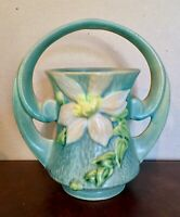 Roseville Clematis Green Vase With Handle, 387-7, in Excellent Condition
