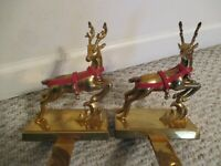 Set of 2 Brass Deer Stocking Holders Hold Everything Leather Coolar with Bells