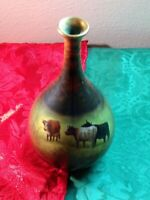 Duerer Ware German Pottery Bud Vase, Cute Cows Grazing, Signed By Dietrich
