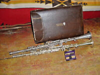 RARE PAIR OF GOLD AND SILVER HENRI SELMER PARIS CLARINETS WWII A AND B FLAT