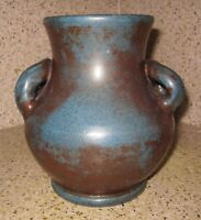 Vintage Genuine Bybee Pottery Kentucky Twin Handle Vase Blue Rust Red Glaze