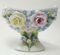 VINTAGE GERMAN PORCELAIN ELFINWARE COMPOTE HOLDER VASE DISH BOWL GERMANY FLOWERS