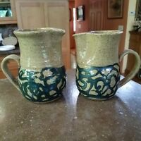 Pottery Rowe Small Pitcher Large Creamer Blue Scrolls Brown (2) Melvin Kentucky