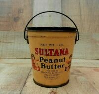 Antique Peanut Butter Tin & Lid GREAT ATLANTIC & PACIFIC TEA CO N.Y. SULTANA